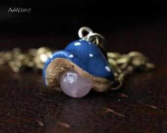 Blue Cap Rose Quartz Mushroom Crystal Pendant