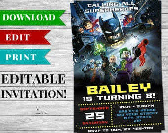 Lego Batman Invitation, Printable Editable Superhero Birthday Party Invitation, Lego Batman Printables, Superhero Party Supplies