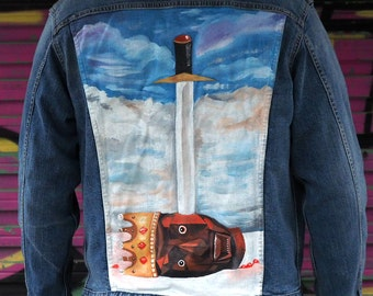 Hand Painted Denim Jacket - Kanye West  Sword and Rapper Fantasy Inspired - Premium Custom Painting