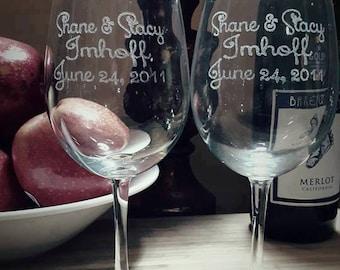 MR & MRS Set(2) of custom engraved wine glasses, engraved wine glasses