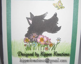 A Warm Hello Scottish Terrier Greeting Card. Hand Stamped and finished.