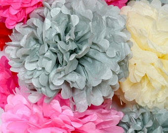 20 pcs Tissue Pom Pom Flowers set, Wedding Party Decor, Baby Shower