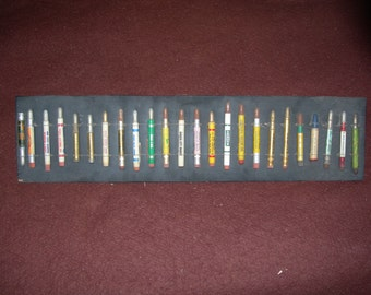Antique Bullet Pencils/ Various Advertising/ Mounted lot of 24/ Ready For Display/ Vintage Collectors Item