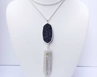 Kendra and Chloe Charcoal Tassel Necklace in Silver