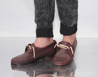 Vintage 80' Amazing Beautiful Brown Leather Shoes