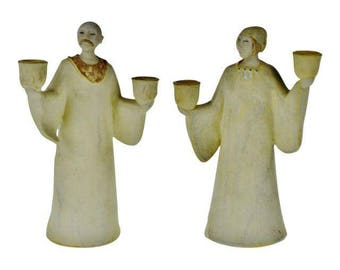 Pair of Vintage Ceramic Figural Candle Holders Signed MSB