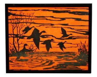 Vintage Professionally Framed Black on Blaze Orange Water Fowl Artwork