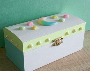 Pastel Neon Moon and Stars Kawaii Jewelry Box