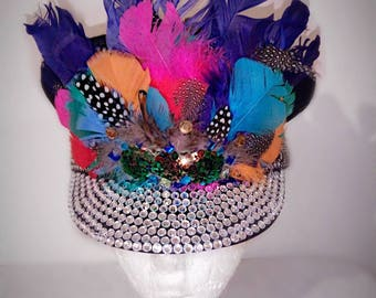 Colourful Feathered Military Burning Man Hat, Captains Hat, Festival, Burner Fashion,
