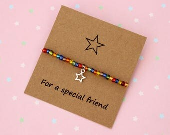 Friendship Bracelet, Friend Bracelet, Special Friend Gift, Star Bracelet, Rainbow Bracelet, Friendship Gift, Star Charm Bracelet, Star Gift