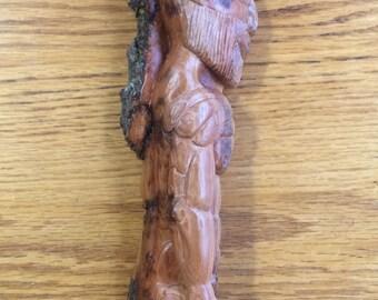 Satyr / bark art / wood sculpture