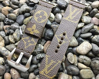 Louis Vuitton LV Monogram Apple Watch Band Stainless Silver Buckle Custom Handmade Upcycled Strap 38mm or 42mm - iWatch