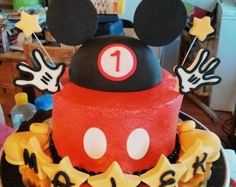Fondant Mickey Mouse Cake Topper Set (11+ pieces)