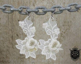 Earrings white lace Bridal jewelry
