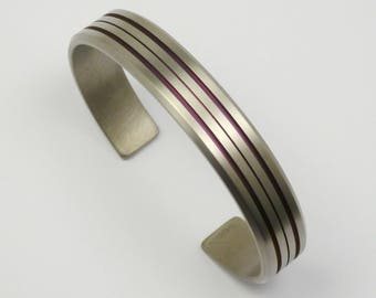 Titanium bracelet, titanium bracelet for men. Anodized titanium bracelet, cuff, bangle.