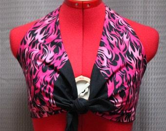 Flaming Pink Tie front halter
