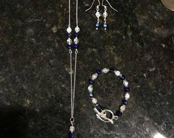 Crystal Cobalt Necklace, Bracelet, Earring Set