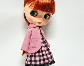 Round Collar Jacket Old Rose for Blythe, Pink Coat for Fashion Doll Outfit