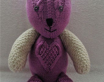 Hand knitted raspberries and cream teddy bear