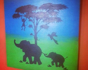 Childlike Elephant Scene with Ombre