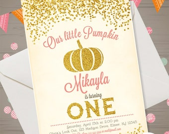 Pumpkin Birthday Invitation Our Little Pumpkin Invitation Gold Glitter Pumpkin Invite First Birthday Pumpkin Invitation Girl Pumpkin Digital