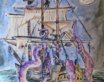 The Kraken - art print - 8x10 print - watercolor print