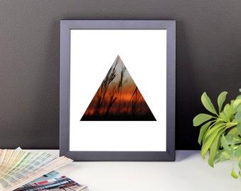 Framed Triangle Geometric Sunset Print