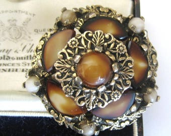 Vintage Jewellery Signed MIRACLE Glass Tiger Eye Tiered Scottish Brooch
