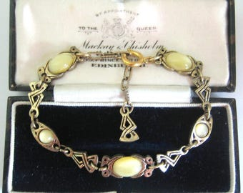 Vintage Jewellery Signed MIRACLE BRITAIN Celtic Plaid Knot Glowing Yellow Glass Moonstone Scottish Bracelet
