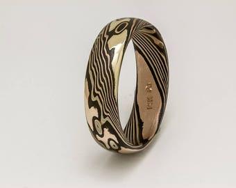 Mokume Gane ring 18k yellow gold,14k rose gold ,14w palladium gold sterling silver