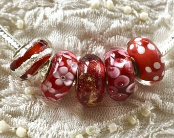 Murano Glass Beads, 5 Lampwork Beads Set, Large Hole Beads, Red Glass Beads, Euro Charm Bracelet Beads