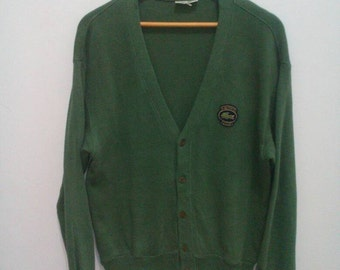 Vintage Lacoste club cardigan chemise lacoste men sz large L vintage green