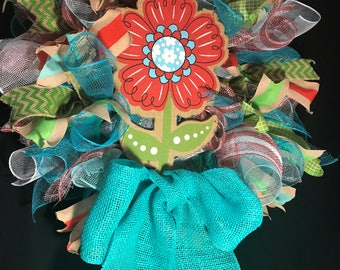 Colorful Wreath, Spring Wreath, Deco Mesh Wreath, Res and Teal Wreath, Summer Wreath, Mother's Day Wreath