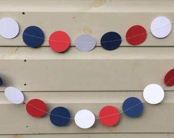 Red, White and Blue Circle Garland , Decor, Party Decor, Celebrations