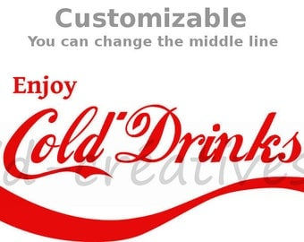 Cold drinks Decal Concession Refrigerator Bumper Sticker Drink Coca-Cola Style