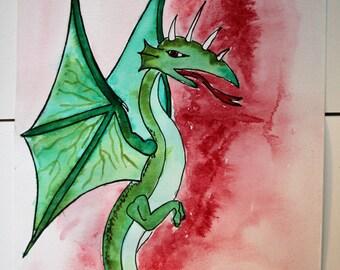 Watercolor original green dragon