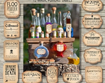 12 Harry Potter Inspired Magic Potions Labels / Printable files, Instant Download - in 3 different sizes