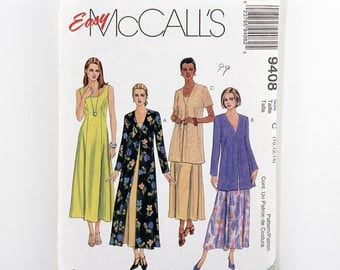 McCall's Pattern 9408, Dress, Duster, Jacket, Size 10, 12, 14, Easy Dress Sewing Patterns, Sleeveless, Princess Seams, Scoop Neckline, UNCUT