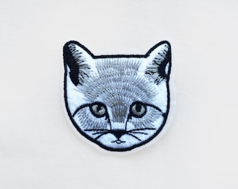 1x CAT face PATCH  Iron On Embroidered Applique white black grey cute pet animal custom diy fun project