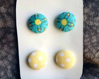 Teal and yellow Fabric Button Earrings Steel Studs with Butterfly Back
