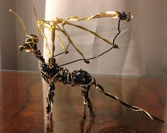 Black and Gold Wire Dragon