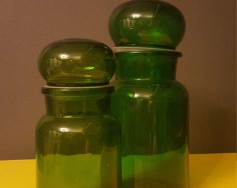 Pair of Belgian emerald green apothecary glass jars