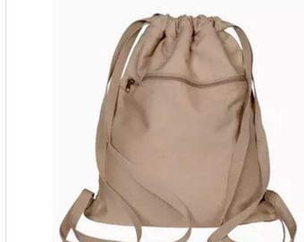 Canvas high quality drawstring backpack.