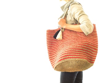 Stripped Tote - Red & White