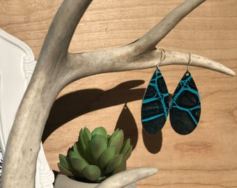 Aqua stamped leather teardrop earrings