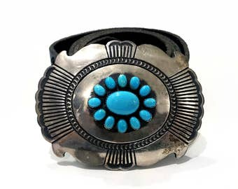 Vintage Designer R. Martinez Navajo Castle Dome Turquoise Cluster Leather Belt Sterling Silver Etched Native American Southwestern 1970s
