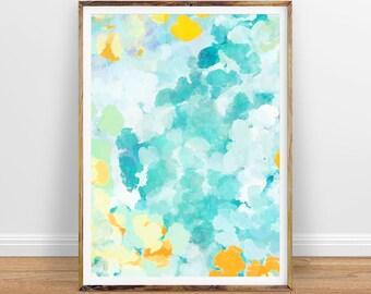 Teal Wall Art, Blue Green Abstract Digital Print, Blue Abstract Watercolor Print, Brush Stroke Print, Green Blue Art, Teal Decor Abstract
