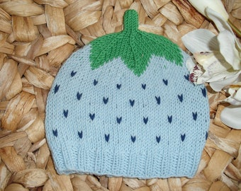 Sweet Fruit Blueberry Baby Hat Toddler Hat - several sizes - pure merino wool