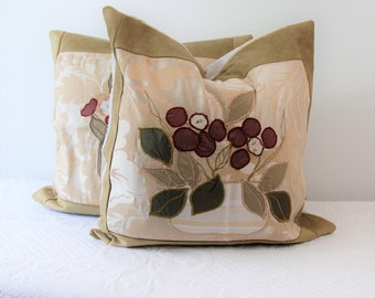 Pair of pillow covers Damascus, elegant, Embroidered Pillow, vases Collection pillow, gift for her