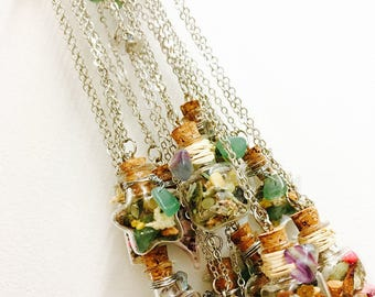 """Vial amulet """"luck and prosperity"""" aventurine and fluorite"""